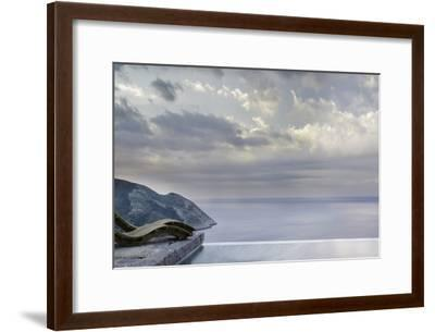 Recliners on Stone Patio Overlooking the Coast and Next to the Pool, Mani, Greece-George Meitner-Framed Photographic Print