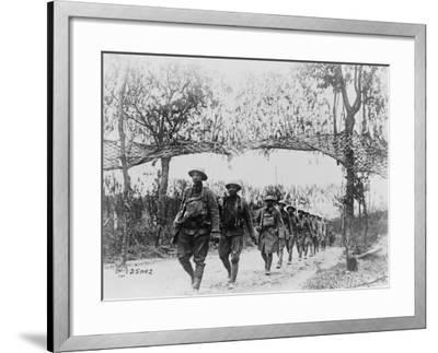 U.S. Army Infantry Troops Marching Northwest of Verdun, France, in World War I, 1918--Framed Photo