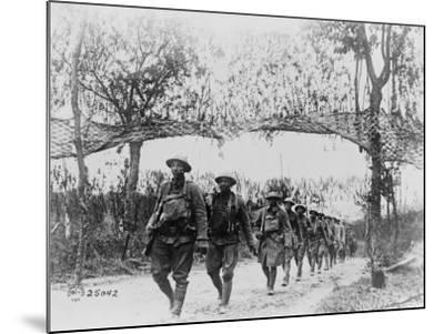 U.S. Army Infantry Troops Marching Northwest of Verdun, France, in World War I, 1918--Mounted Photo