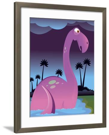 Purple Dinosaur in Lake--Framed Photo