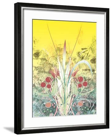Yellow Sky over Growing Plants--Framed Photo