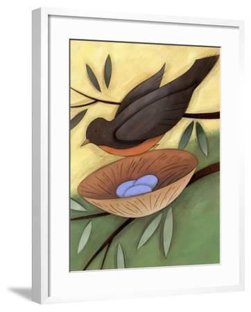 Bird Landing on Nest with Eggs--Framed Photo