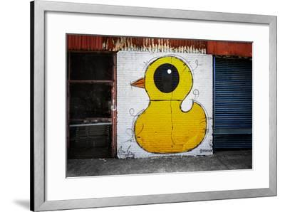 Yellow Duck on Brick Wall in Brooklyn NY--Framed Photo