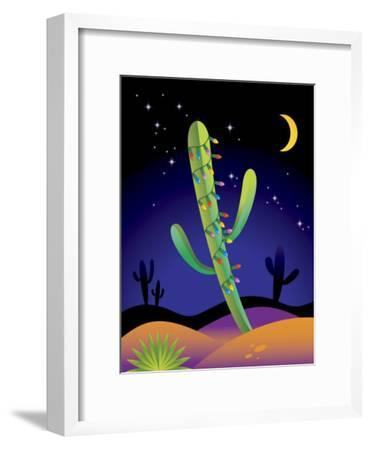Saguaro Cactus Decorated with Christmas Lights--Framed Photo