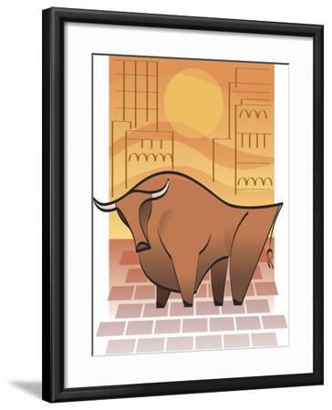 Symbolic Stock Market Bull--Framed Photo