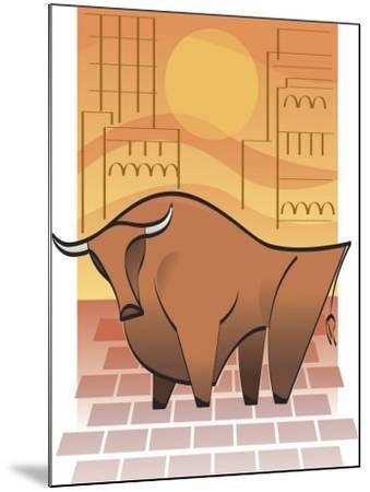 Symbolic Stock Market Bull--Mounted Photo