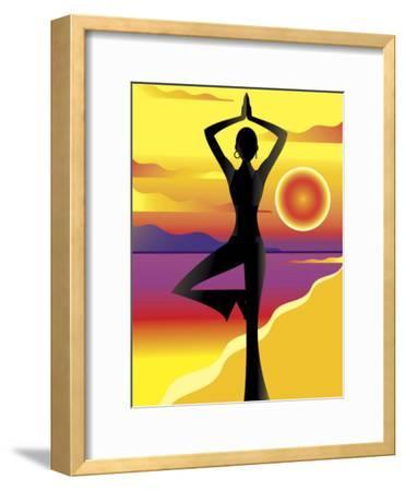 Woman Doing Yoga on Beach at Sunset--Framed Photo