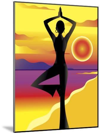 Woman Doing Yoga on Beach at Sunset--Mounted Photo
