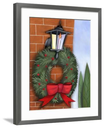 Christmas Wreath on Brick Wall--Framed Photo