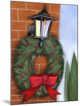Christmas Wreath on Brick Wall--Mounted Photo