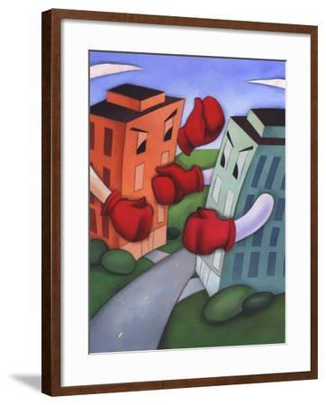 Angry Buildings Boxing Each Other across Street--Framed Photo