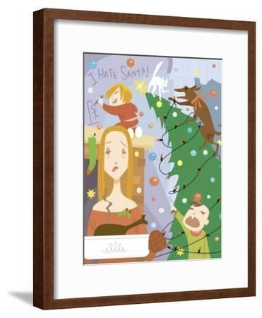 Weary Mother with Sons and Christmas Chaos at Home--Framed Photo