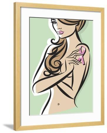Nude Woman Posing with Pink Ribbon for Breast Cancer Awareness--Framed Photo