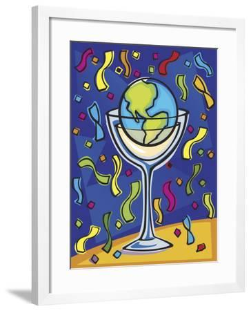 Celebration with Confetti and World Globe in Alcohol Glass--Framed Photo