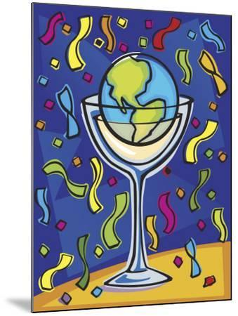 Celebration with Confetti and World Globe in Alcohol Glass--Mounted Photo