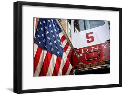 FDNY Truck with American Flag--Framed Photo