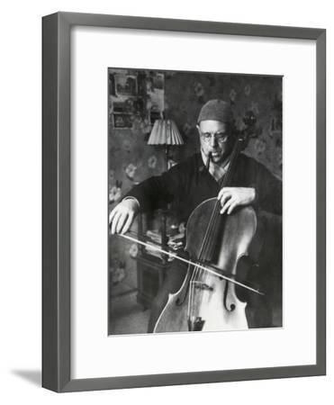 Pablo Casals, the Great Cello Player in His Home in Barcelona--Framed Photo