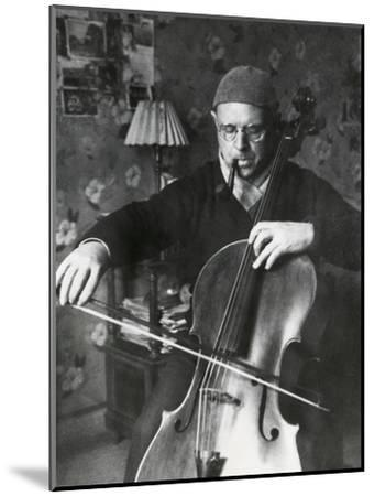 Pablo Casals, the Great Cello Player in His Home in Barcelona--Mounted Photo