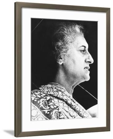 India's Prime Minister Indira Gandhi Speaks to Supporters on June 18, 1975--Framed Photo