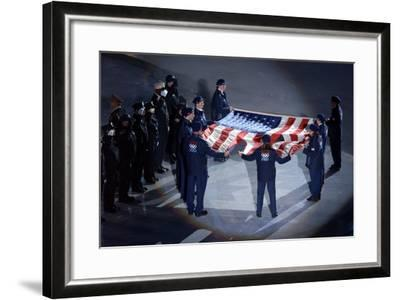 The Us Olympic Team Holds the American Flag That Flew over the Ground Zero--Framed Photo