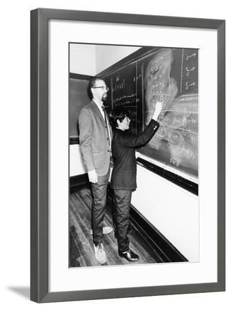 Professor Harry Dym, Works with His 12 Year Old Student, Matthew Marcus at New York City College--Framed Photo
