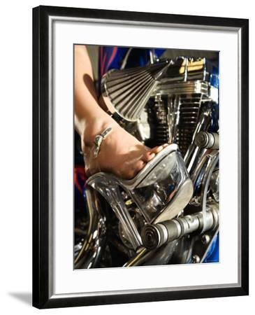 Riding Motorcycle in Platform Heel Shoes--Framed Photographic Print