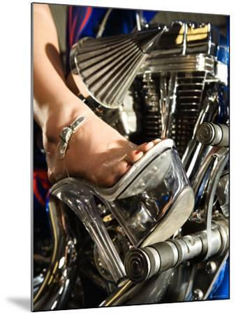 Riding Motorcycle in Platform Heel Shoes--Mounted Photographic Print