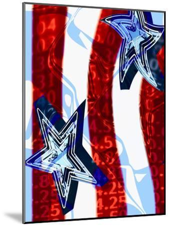 Patriotic Stars and Stripes with Numbers--Mounted Photographic Print