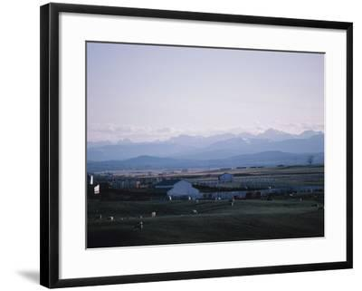 Farm in Mountain Valley - Rockies, Calgary, Banff--Framed Photographic Print