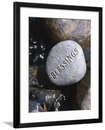 Blessings Written on Rock in Flowing Water--Framed Photographic Print