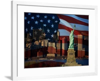 Skyline View with the Statue of Liberty Landmark and American Flag Background in New York City--Framed Photographic Print