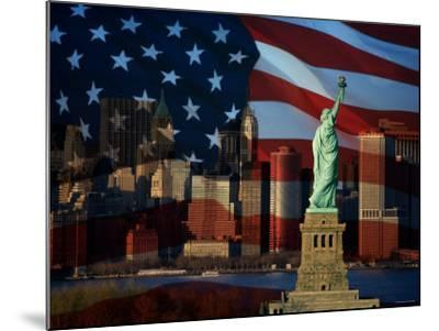 Skyline View with the Statue of Liberty Landmark and American Flag Background in New York City--Mounted Photographic Print