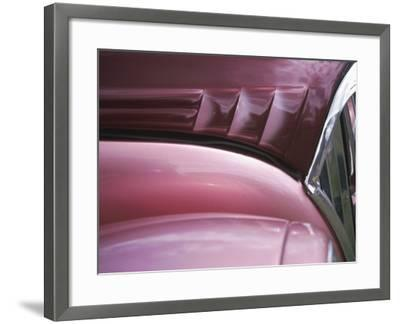 Close-up of Vent on Pink Classic Car--Framed Photographic Print