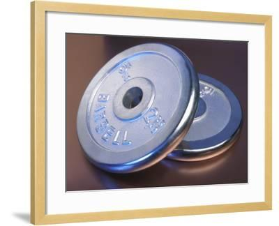 Two Dumbbell Weights for a Workout--Framed Photographic Print