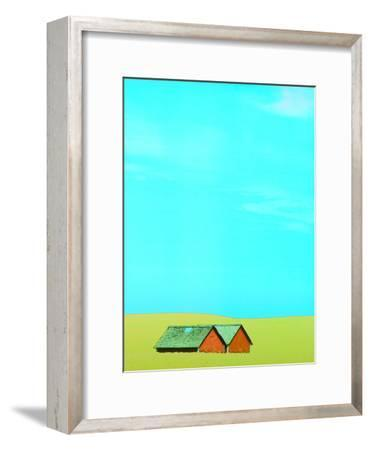 Red Barns in Yellow Field--Framed Photographic Print