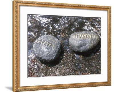 Rocks with the Words Imagine and Create in Water--Framed Photographic Print