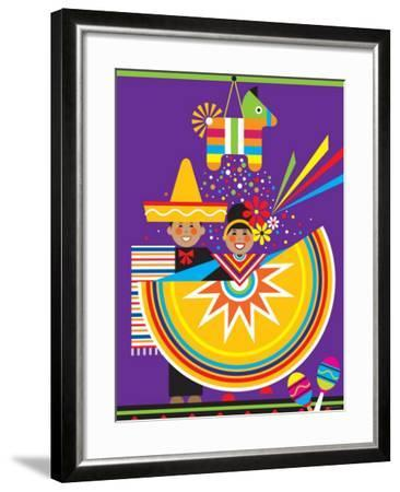 Traditional Mexican Cultural Celebration with Pinata--Framed Photographic Print