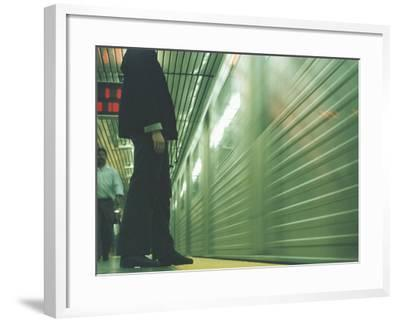 Person Waiting For Subway--Framed Photographic Print