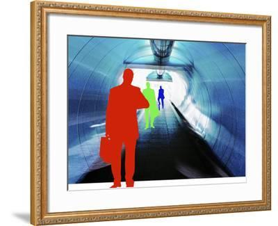 Colorful Silhouettes of Businessmen Looking at Watches in Subway Tunnel--Framed Photographic Print