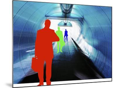 Colorful Silhouettes of Businessmen Looking at Watches in Subway Tunnel--Mounted Photographic Print