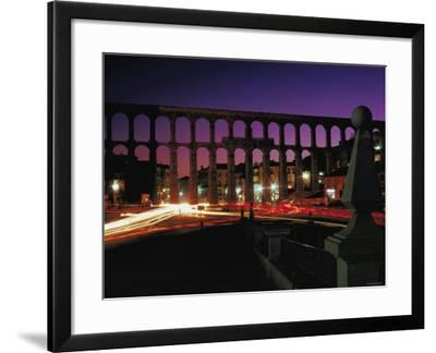 Illuminated Lights at Night by Aquaduct in Segovia, Spain--Framed Photographic Print