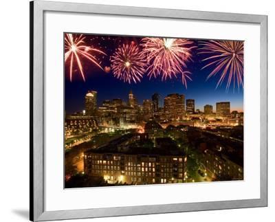 Celebration with Exploding Fireworks over Skyline of Boston, Massachusetts--Framed Photographic Print