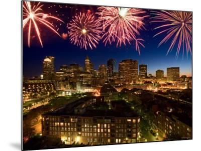 Celebration with Exploding Fireworks over Skyline of Boston, Massachusetts--Mounted Photographic Print