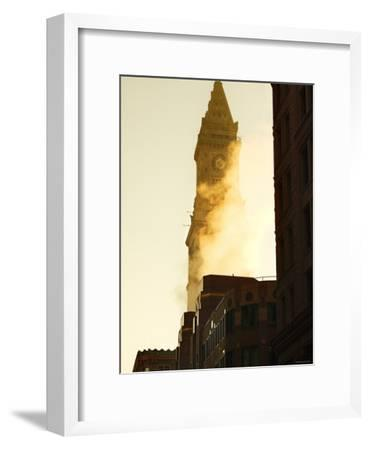 Building with Clock Tower on Top and Smoke in Front of it in Boston, Massachusetts--Framed Photographic Print