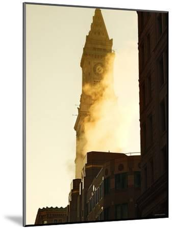 Building with Clock Tower on Top and Smoke in Front of it in Boston, Massachusetts--Mounted Photographic Print
