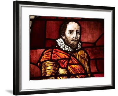 Close-up of Shakespeare in an Illuminated Stained Glass Window--Framed Photographic Print