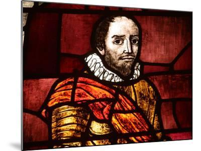 Close-up of Shakespeare in an Illuminated Stained Glass Window--Mounted Photographic Print
