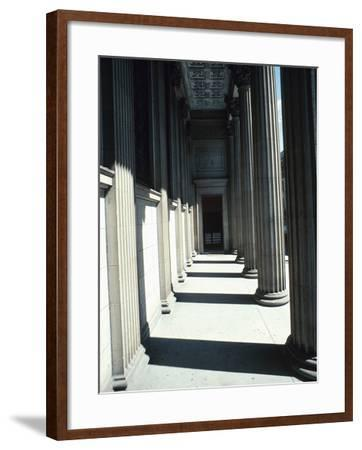 Pillar Lined Walkway - Architecture Montreal--Framed Photographic Print