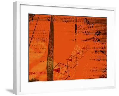 Red Background with Diagrams, Information and Numbers Superimpos--Framed Photographic Print