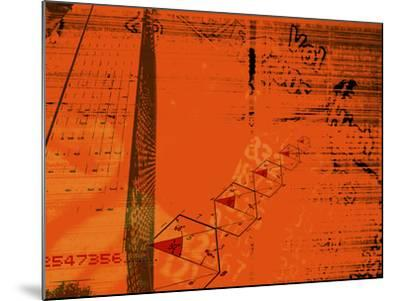 Red Background with Diagrams, Information and Numbers Superimpos--Mounted Photographic Print